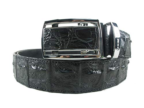 (PELGIO Genuine Crocodile Alligator Backbone Skin Leather Auto Locking Belt 46