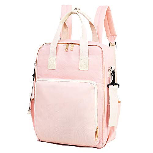 Diaper Bag Travel Backpack Large Capacity Tote Shoulder Nappy Bag Organizer for Baby Care with Insulated Pockets,Waterproof Fabric (Baby Pink)