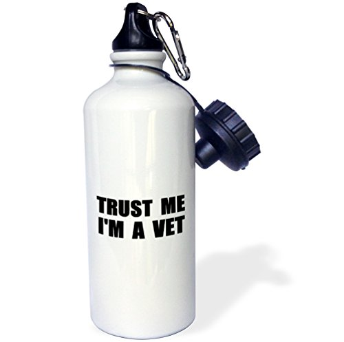 3dRose wb_195657_1 Trust Me Im A Vet Animal Care Work Humor Funny Veterinarian Job Gift Sports Water Bottle, Multicolor, 21 oz by 3dRose
