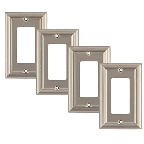 Pack of 4 Wall Plate Outlet Switch Covers by SleekLighting | Decorative Satin Nickel | Variety of Styles: Decorator/Duplex/Toggle / & Combo | Size: 1 Gang Decorator (For Large Wall Plates Decorative The)