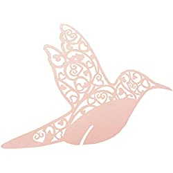 ISKYBOB 50 Pieces Cute Bird Wine Glass Cup Topper Table Mark Place Name Cards for Wedding Decoration Party Supplies, Pink