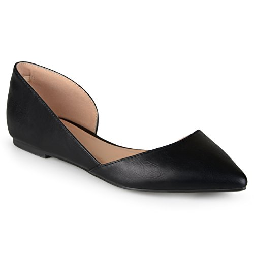 Journee Collection Womens Pointed Toe Cut-Out Flats Black, 6 Regular US