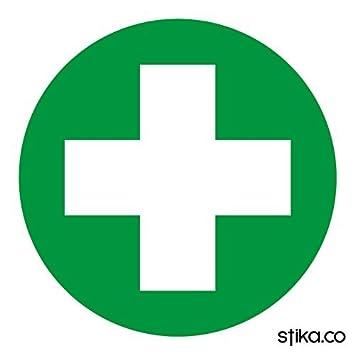 First Aid Box Symbol Self Adhesive Sticker Sign 90mm Diameter