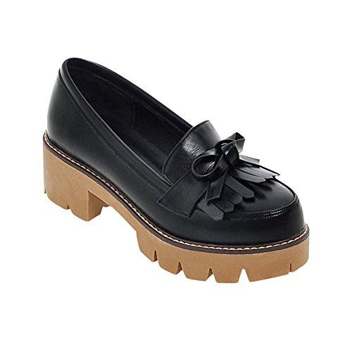 Carolbar Vrouwen Strikken Retro Manchet Dikke Mid Hak Platform Loafers Schoenen Zwart