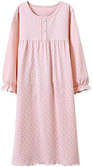 Allmeingeld Girls' Princess Nightgowns Heart Print Sleep Shirts Cotton Sleepwear for 3-12 Y