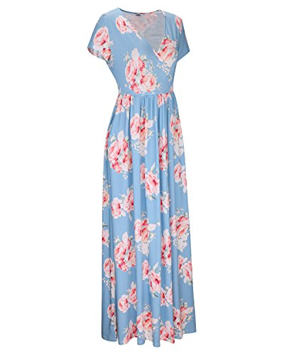 Summer Neck Women's STYLEWORD V Maxi Dress Floral Floral04 Long qw4wgt