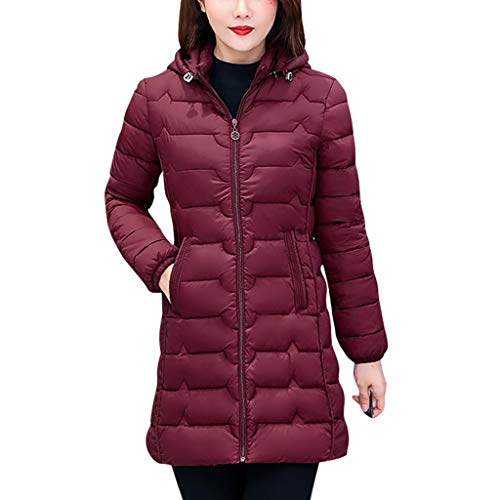 SONIGER ʕ•ᴥ•ʔ Womens Casual Long Sleeve Cotton-Padded Solid Stand Collar Down Jacket Long Overcoat Outwear for Winter Wine