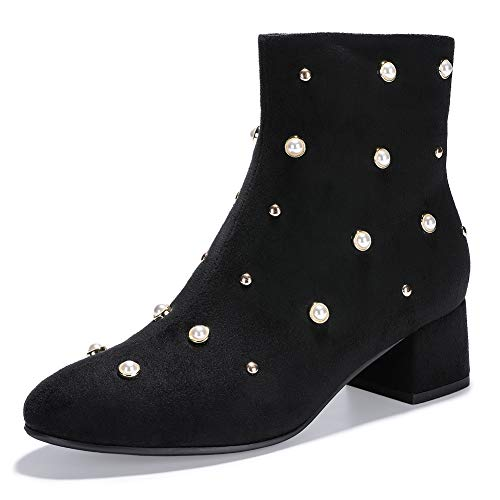 IDIFU Women's Bonnie-Pearl Studded Round Toe Ankle Booties Low Block Heel Side Zipper Faux Suede Short Boots (Black Suede, 7 M - Suede Bootie Black Ankle Buckled