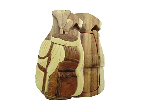 Carver Dan's Shop Golf Bag Golfing Tee Hand-Carved Puzzle Box with No Paints! No Stains! Hidden Felt Lined Interior That hides Jewelry, Gift Cards, or Money. No Two Will Ever be Identical! ()