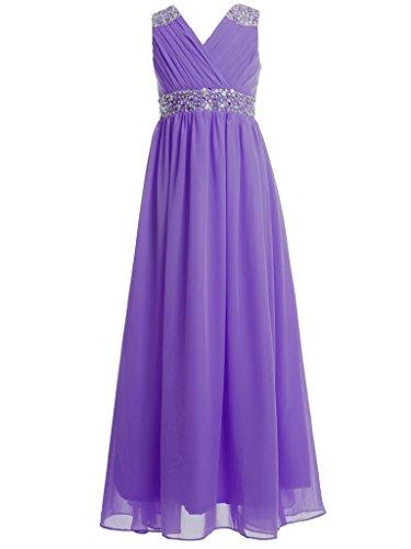 FAIRY COUPLE Girl's Embellished V-Neck Long Flower Girl Dress for Wedding K0156 14 Purple ()