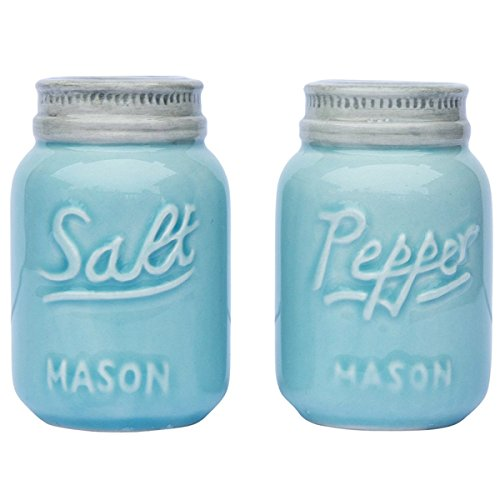 Vintage Mason Jar Salt & Pepper Shakers by Comfify - Adorable Decorative Mason Jar Décor for Vintage, Rustic, Shabby Chic - Sturdy Ceramic in Aqua Blue - 3.5 oz. Cap. ()
