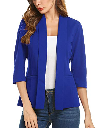 Concep Fashion Blazer Womens Casual Work Office Open Front Blazer Jacket Solid Color Knit Suit (Royal Blue, XX-Large)