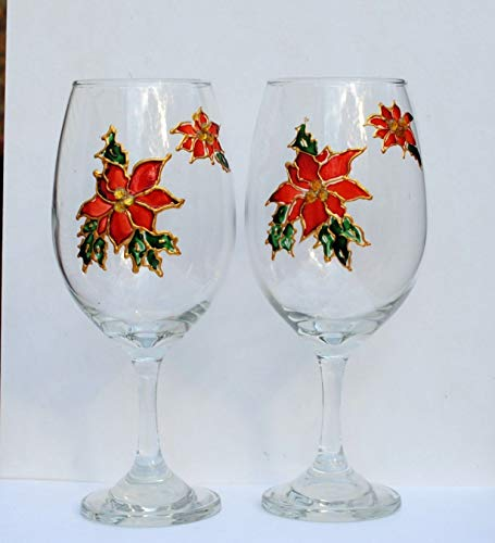 Special Order Stemware - 2 Red Poinsettia Stemmed Hand Painted Wine Glasses Set