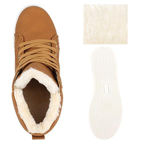 Damen Stiefeletten Outdoor Boots Warm Gefütterte Schnürstiefeletten Schnürschuhe Lack Zipper Profilsohle Winter Schuhe Flandell Hellbraun Camiri