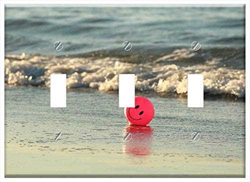 Switch Plate Triple Toggle - Ball Beach Happy Ocean Pink Smile Smiley 1