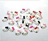 50pcs Kitty Cat Kitten Bow Flat Back Cabochons Meow Animals Decoden Flat Back Buttons DP289