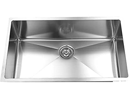 16Gague Stainless Steel Undermount Single Bowl Handmade Kitchen Sink ...