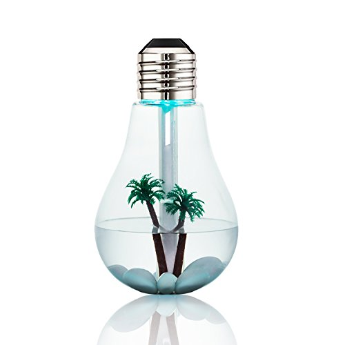Aromatherapy Humidifier,Essential Oil Diffuser,Bienna Bulb 400ml Cool Mist Quiet Ultrasonic Vaporizer and LED Night Light with USB [6 Hours Running] [Waterless Auto Shut-Off] for Baby Sleep Car-Silver