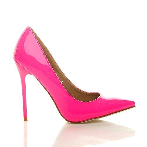 fête travail Ajvani de chaussures Fushia Néon élégante haut escarpins taille Rose Femmes pointue talon qFt0F