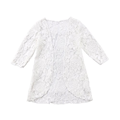 ITFABS Baby Girl Floral Lace Sunscreen Beach Dress Rash Guard Clothes Sun Protection Cover-Ups Outerwear (White, 90(1-2T)) Cover Ups Children Sun Clothing