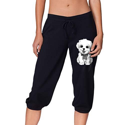 Bichon Frise Women's Capri Pants, Workout Beam Trousers Black