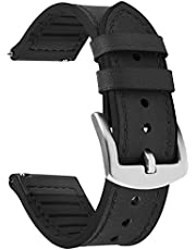 Fullmosa Quick Release Watch Band 22mm 20mm, Leather Silicone Hybrid Wacth Bands for Samsung Galaxy Watch/Huawei Watch/Garmin Forerunner/Amazfit