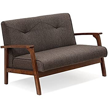 Amazon.com: Baxton Studio Valencia Loveseat in Gravel Brown ...