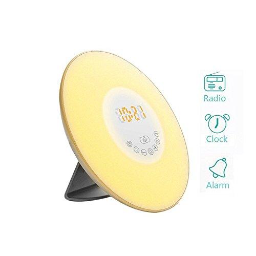 Wake Up Light with Sunrise Simulation Light & Sunset Simulation Light Alarm Clock White