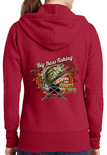 Womens Big Bass Fishing Full Zip Hoodie, Red, 4X