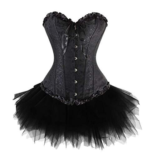 - Women's Lace Up Burlesque Floral Boned Corset Dress Overbust Waist Bustier with Tutu Skirt Costume Set Plus Size S-6XL (Classic Black,XXX-Large)