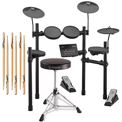 Yamaha DTX402K Electronic Drum Kit with Drum Throne & Zildjian Sticks, 3 Pairs