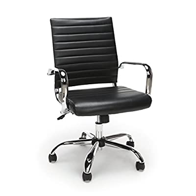 Essentials Soft Ribbed Leather Executive Conference Chair with Arms - Ergonomic Adjustable Swivel Chair