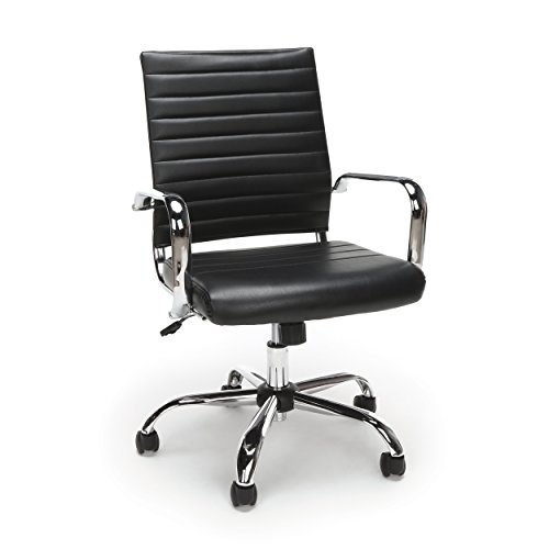 Essentials Soft Ribbed Leather Executive Conference Chair with Arms – Ergonomic Adjustable Swivel Chair, Black/Chrome (ESS-6095-BLK)