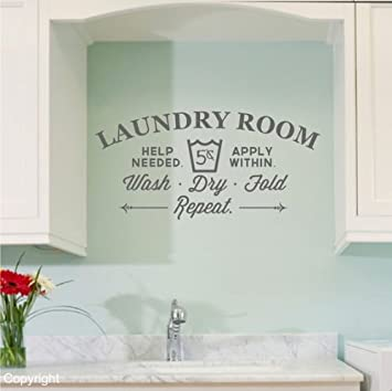 Amazoncom Vinyl Wall Decal Laundry Decal Custom Words Door Sign - Vinyl wall stickers custom
