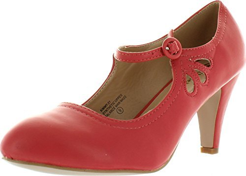Chase & Chloe Women's Kimmy-21 Regular, Mary Jane Boots,7.5 B(M) US,Coral