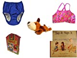 Children's Gift Bundle - Ages 0-2 [5 Piece] Includes: My Pool Pal Reusable Swim Diaper, Royal Blue 24 Months, 18-25 Pounds, Circo Infant Girls Swim Bikini Top Pink Butterfly Size L 18 Months 22-25 l