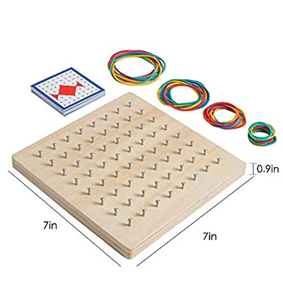 kizh Wooden Geoboard Mathematical Manipulative Material Graphical Educational Toys Array Block Geo Board Pattern Cards and Rubber Bands STEM Puzzle Matrix 8x8 Brain Teaser Toys: Toys & Games