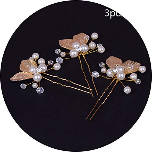 Festival Wedding Bridal Hair Stick Comb Floral Pearl Hair Accessories Hairpin Crystal Ornaments Headdress Plait Hair Clip Vine,F-3Pcs-Gold