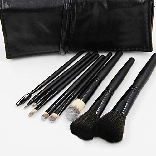 Makeup Brush Set 9pcs Includes Cosmetic Dome Blush Brush Foundation Brush 3 Eye Shadow Brush Lotions Brush Eyebrow Lash Brush Lipbrush wih Black Case ()