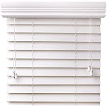"""Arlo Blinds Snow White 2-Inches Faux Wood Vinyl Horizontal Blind - Size: 72"""" W x 73"""" H"""
