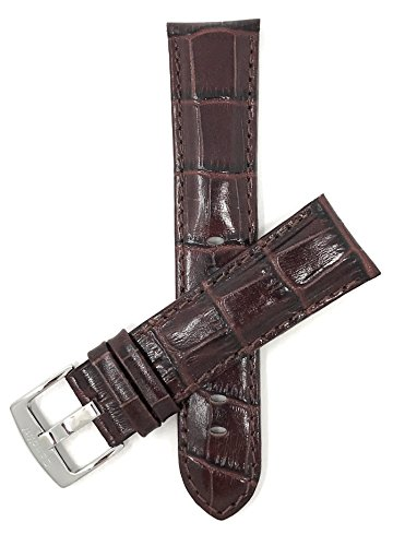 (Mens' 22mm Brown Alligator Style Genuine Leather Watch Band Strap, Glossy)