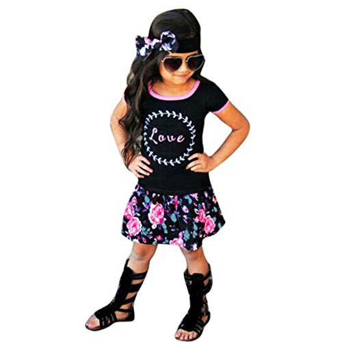 Gillberry Toddler Kids Baby Girls Outfit T-shirt+Floral Skirt+Headband 1Set (Size:6T, Black)