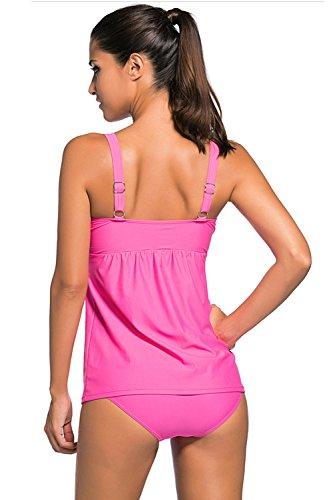 Piega Costumi A Costume Elegante Donne Tankini Bikini Estate Minetom Rosa Donna Due Pezzi Bagno Decorazione Moda Le Da Z61w8P