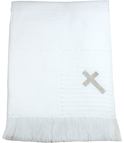 BabyPrem Baby Blanket Shawl Cross Christening Baptism Knitted Fringe 122 x 122cm White