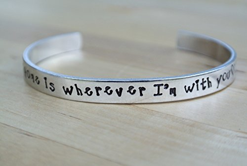home-is-wherever-im-with-you-hand-stamped-cuff-bracelet-aluminum-jewelry-girlfriend-gift-for-her