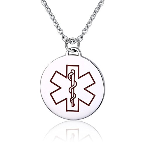 Free Custom Engraving Stainless Steel Round Pendant Medical Alert ID Pendant Necklace Type 1 Diabetic (Diabetic Type 2 Necklace compare prices)
