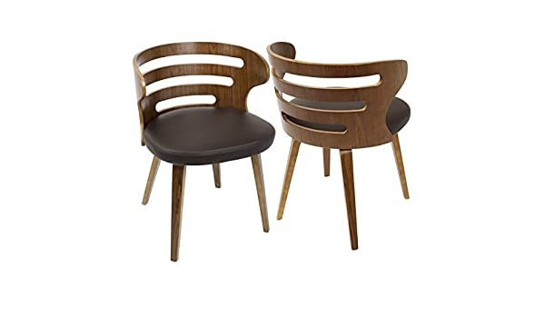 Amazon.com - Wood Dining Chair with Faux Leather Upholstery ...