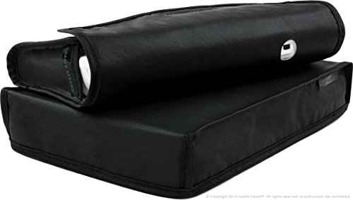 Wii U Dust Cover Set by Foamy Lizard ® THE ORIGINAL MADE IN U.S.A. TexoShield (TM) Premium soft lined leatherette dust guard & gamepad pouch [USPTO PATENT PENDING] w/back cable port (Horizontal, Black)