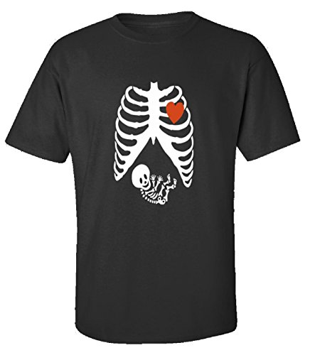 [Pregnant Halloween Maternity Scary Skeleton Costumes - Adult Shirt 5xl Black] (Cheap Maternity Halloween Costumes)