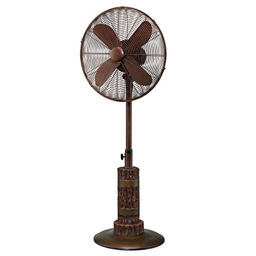 (DecoBREEZE Adjustable Height Oscillating Outdoor Pedestal Fan, 18 In, Terra)